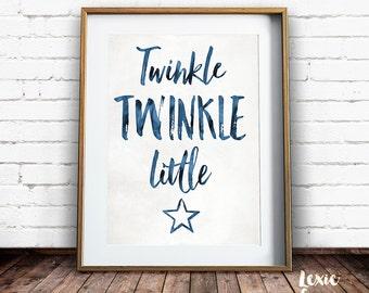 Twinkle Twinkle Little Star, Nursery Art, Twinkle Twinkle Little Star Print, Childrens Art, Star Print, Printable Wall Art, Instant Download