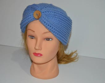 Fashionable adult or teen knit turban Hat hands