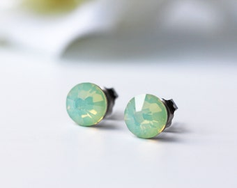Mint Opalescent Swarovski Crystal Titanium Earrings Chrysolite Opal Dainty Everyday Studs