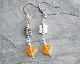 Orange Earrings, Aventurine Earrings, Natural Stone Earrings, Flower Earrings, Bohemian Earrings, Handmade Earrings, Boho Earrings