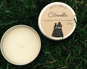 Citronella Travel Tin Candle: Lake Life Candle Co. Made in WI