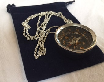 """Chrome / Silver Finish Brass Pocket Compass w/ 27"""" Chain & Velour Bag - Necklace Pendant - Old Vintage Style - Nautical Maritime Gift"""