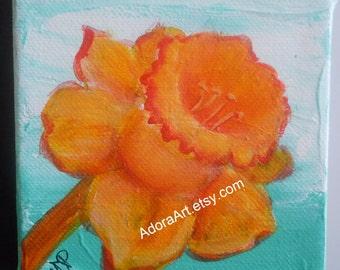 Daffodil floral painting blue orange 4 x 4 canvas wall art flower bulb art tiny original painting modern flower painting summer FREE SHIP