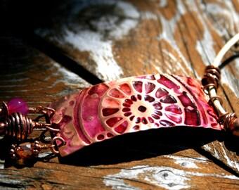 ClockWork Copper, Leather and Quartz Necklace