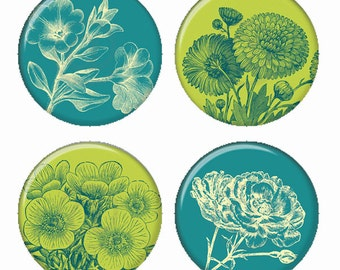 Sarcelle et vert botanique fleurs aimants ou Pinback Buttons ou Flatback médaillons Set de 4