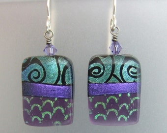 Purple Spiral Earrings with Dichroic Scallops, Handmade Fused Glass Jewelry