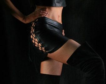 Vixen Leather Skirt, Mini Short Long Floor Length Skirt, Festival Clothing, Sexy Goth Stage Wear, Lambskin Leather Skirt, Rocker Biker Chic