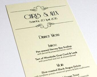 Art Nouveau Menu Cards Wedding Custom Handmade Bridal Sign Table Setting Gatsby Roaring Twenties