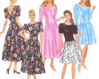 90s Womens Scalloped Neckline Dropped Waist Dress Simplicity Sewing Pattern 8178 Size 12 14 16 Bust 34 36 38 UnCut Bridesmaid or Prom Dress