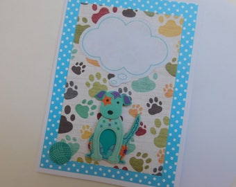 Blue Dog Card- Dog Note Card -  Dog Card - Thought Cloud Dog Card - Terrier Card