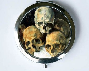 Pyramid of Skulls Skull Compact Mirror Pocket Mirror gothic