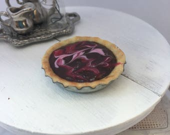 Miniature 1/12 scale Chocolate Cream Pie with Pink and Red Swirls for Dollhouse or Fairy Garden