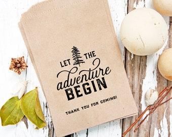Kraft Trail Mix Wedding Favor Bags - Paper Favor Bags - Let the Adventure Begin - Wedding or Shower Favor - 5 Kraft Bags