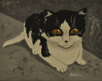 Black and White Kitten - Acrylic Painting - Cat - Pet Portrait - Poster Print
