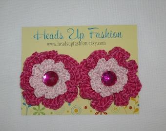 Crochet - Baby pink/hot pink crocheted flower hair clips
