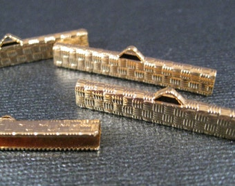 Choker Crimp Ends / Large in Gold Plate 6 pieces, 1.5 inches  Heavy Weight Use with Ribbon, Tapestry Ribbon or Leather