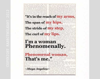 Maya Angelou Phenomenal Woman art print literary quote poem typography on vintage dictionary text book page black white red wall decor 8x10