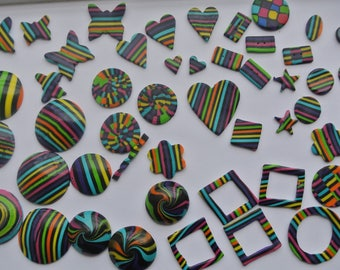 set of 90 pieces, polymer clay, different shapes