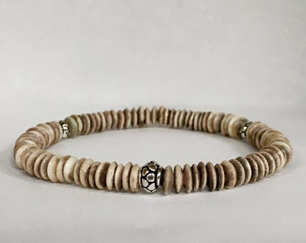 Men's bi-colored dark brown ox bone bracelet with bali sterling silver beads