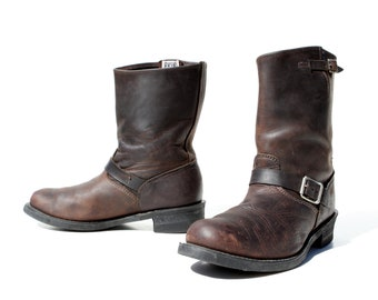 Reserved..Vintage Engineer Boots: Espresso Brown Leather.  White Label. Oil Resistant. Made in USA by Frye. Size - Mens VTG US 11.5 M