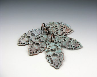 Enameled Oval Filigree / Seafoam Enamel / Made to order
