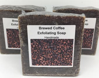 Brewed coffee soap, exfoliating soap, coffee grounds, coffee grinds, coffee, lightly scented, i love coffee,