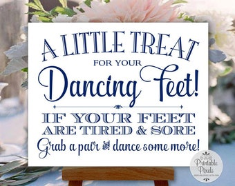 Navy Blue Printable Dancing Shoes Sign, Wedding Sign, Little Treat For Your Dancing Feet, Flip Flops Sign (#DA13N)