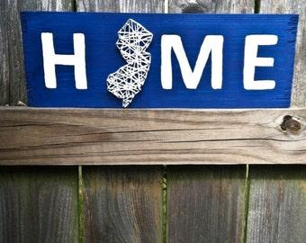 State String Art, String Art, Home Sweet Home, Nail String Art, Nail and String Art, Custom Sign, Rustic Home Decor, New Jersey String Art