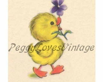 Easter 6 a Sweet Duck with a Violet a Digital Image from Vintage Greeting Cards - Instant Download
