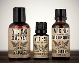 Mens Grooming Kit Wild Man Beard Gift Set - Three Pack - Beard Oil Conditioner, Beard Wash and STUD TONIC
