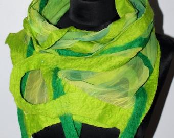 Handmade Merino Wool Felted Loop Green Silk Scarf Wearable Art
