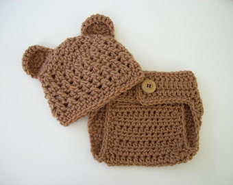 Newborn Bear Outfit, Coming Home Outfit, Newborn Photo Outfit, Baby Bear Outfit, Crochet Baby Outfit, Newborn Bear Hat, Crochet Diaper Cover