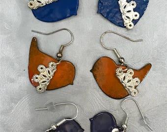 Enameled Baby Bird Earrings