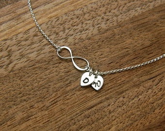 Small infinity necklace with initial charms in sterling silver, infinity necklace, eternity necklace, infinity symbol, personalized, custom