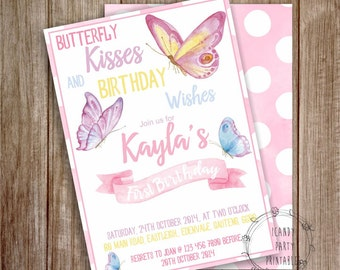 Butterfly Invitation, Butterfly Birthday Invitation, Butterfly kisses, Printable Party Invite, Instant download, Editable