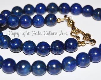 """19"""" Lapis Lazuli Necklace,10mm Blue Stone Necklace,Lapis Lazuli Stone Necklace,Midnight Navy Blue Lapis Lazuli Necklace, PaleColorsArt.com"""