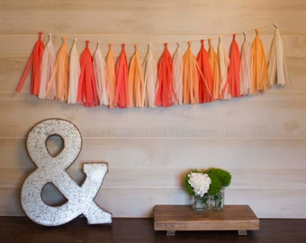 Peace Coral Tassel Garland Tissue Paper Tassels Garland Kit Set of 6 to 50 Choose your quantity