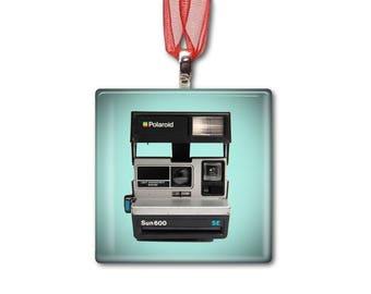 Polaroid Sun 600 SE - Handmade Glass Photo Ornament