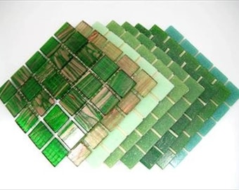 Mosaic Tiles Mixed 2cm x 2cm x 4mm thick. Groovy Green Deluxe Blend 200 Tile Mix.