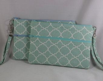 Aqua trefoil, cotton twill fabric, iPad mini case, ready to ship