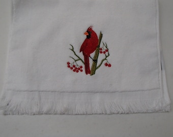 Cardinal Embroidered White Towel