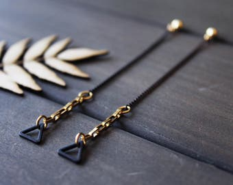 Geometric long chain earrings gold black triangle earrings linear earrings unique jewelry long thin earrings modern brass - Jax Earrings