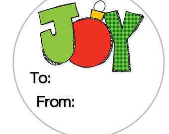 24 Christmas Gift Sticker, Joy Christmas Tag, Christmas Gift Label, Personalized Gift Tag, Teacher Gifts, Stocking Stuffers, SET OF 24 (522)