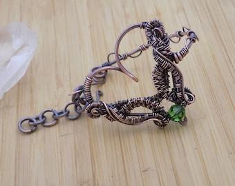 Heart Bracelet Green Swarovski Crystal Wrapped Oxidized Copper Wire Wrapped Jewelry Handmade Artisan Heart Chakra Bangle Loop Hook Closure