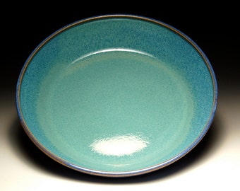 Small Pasta Bowl - Pie Plate - Blue and Teal Pottery