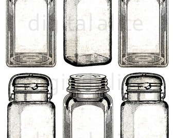 Vintage CANNING JAR TAGS - Instant Download Digital Printable stickers,tags,cards - Mason Jars, Plain and Sepia