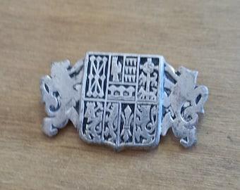 Unusual Vintage Shield Crest Brooch