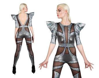 Space Alien Catsuit in Silver, Jumpsuit, Futuristic Clothing, EDC Outfit, Dancewear, Stage Wear, Aerial Silks, Burning Man, by LENA QUIST