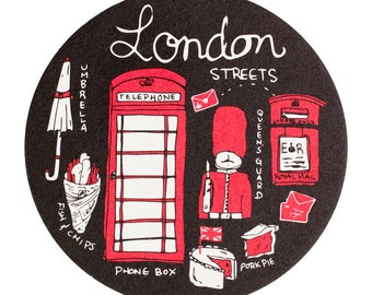 London Streets Coaster Set, Reusable Coasters, London, English Life, Tabletop, UK, England, Party