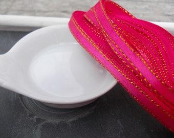 1 meter of satin edges 6 mm fuchsia glitter Ribbon
